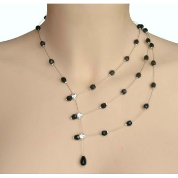 Collier fantaisie noir CO1186A