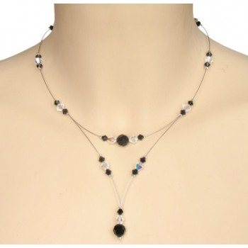 Collier noir et cristal  CO1191A