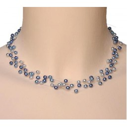 Collier perles bleu CO4258Z