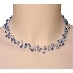 Collier perles bleu CO4258Z