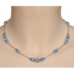 Collier mariage bleu et cristal CO4264A