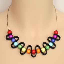 Collier fantaisie arc en ciel multicolore CO1405A