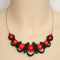 Collier fantaisie noir et rouge CO1408A