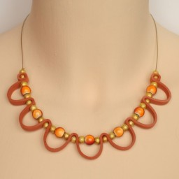 Collier fantaisie orange et doré CO1402A
