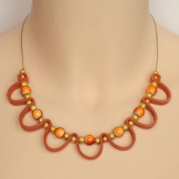 Collier fantaisie orange et doré CO1402A