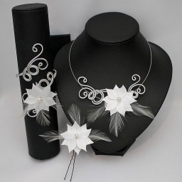 Parure mariage fleur plumes blanches PA1281A