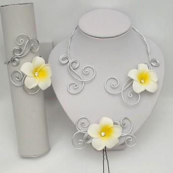 Parure mariage fleur de tiaré PAA363