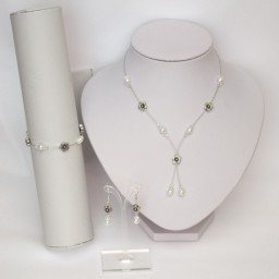 Parure mariage fleurs blanc cristal argent PA1279A