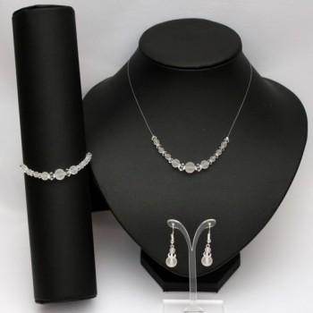 Parure bijoux mariage cristal de Swarovski perles givrées PA4290A
