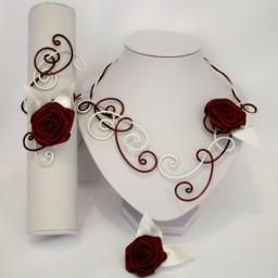 Parure mariage fleur blanc bordeaux