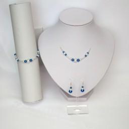 Parure mariage blanc et bleu royal PA4289A