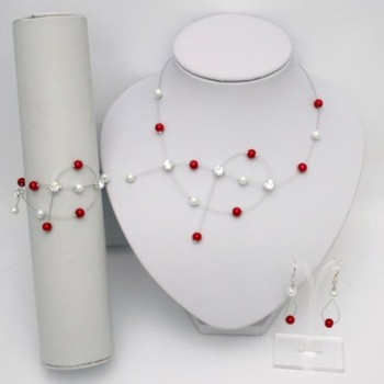 Parure mariage blanc rouge strass PA1284A