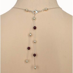 Bijou pendentif de dos ivoire et bordeaux BD0004A