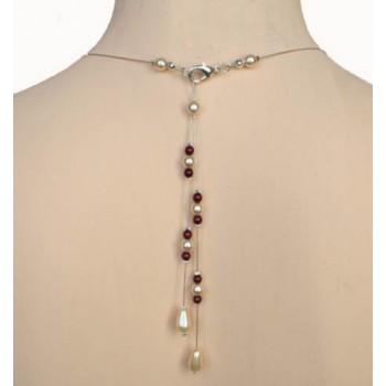Bijou pendentif de dos ivoire et bordeaux BD0005A