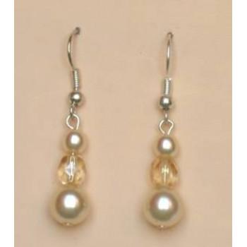 Boucles d oreilles mariage ivoire beige BO1159A