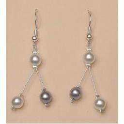 Boucles d oreilles mariage gris et blanc BO1171A