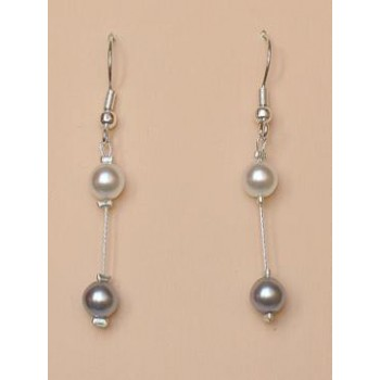 Boucles d oreilles mariage blanc gris BO1171B