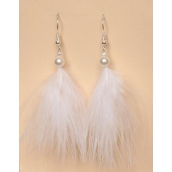 Boucles d oreilles mariage plumes blanches BO1173P