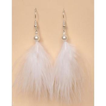 Boucles d oreilles mariage plumes blanches BO1173P