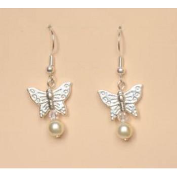 Boucles d oreilles mariage papillon ivoire cristal BO1174A