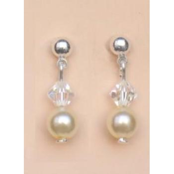 Boucles d oreilles mariage ivoire et cristal irisé BO1179A