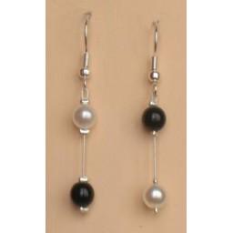 Boucles d oreilles mariage noir et blanc BO1180A
