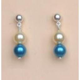 Boucles d oreilles mariage ivoire et turquoise BO1182B