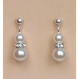 Boucles d oreilles mariage blanc strass BO1188B