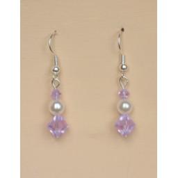Boucles d oreilles blanc et violet BO1203A