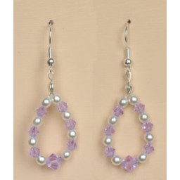Boucles d oreilles blanc et violet BO1203B