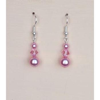 Boucles d oreilles rose cristal BO1205A