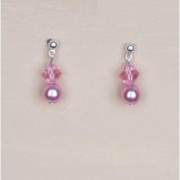 Boucles d oreilles rose cristal BO1205B