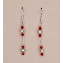 Boucles d oreilles ivoire cristal rouge BO1207A
