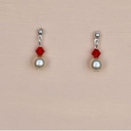 Boucles d oreilles ivoire cristal rouge BO1207B