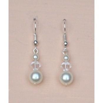 Boucles d oreilles mariage blanc cassé cristal BO1215A