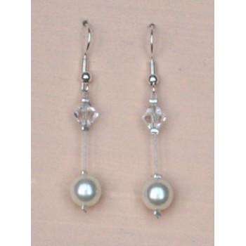 Boucles d oreilles mariage blanc cassé et cristal BO1215B