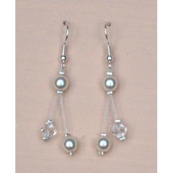 Boucles d oreilles mariage blanc cassé et cristal BO1215C