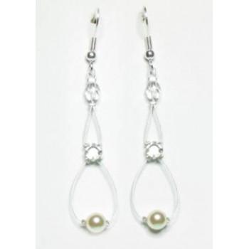 Boucles d oreilles mariage ivoire cristal BO2081A