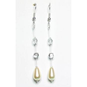Boucles d oreilles mariage ivoire cristal BO2082A