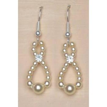 Boucles d oreilles mariage ivoire strass BO4233Z