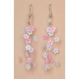 Boucles d oreilles fleurs blanc et rose BO4247A