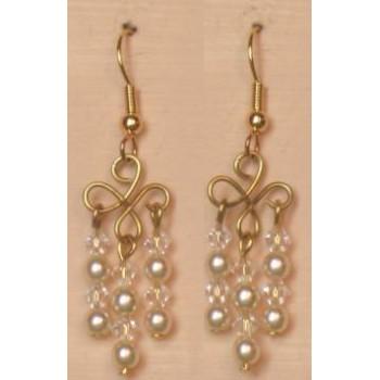 Boucles d oreilles ivoire et cristal BO4249Z