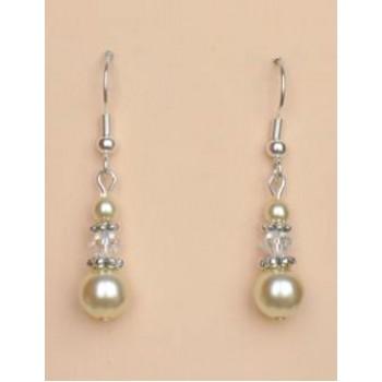 Boucles d oreilles ivoire cristal argent BO4263A