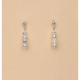 Boucles d oreilles mariage blanc cristal BO4272A