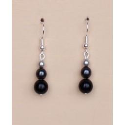 Boucles d oreilles noir et gris BO4278A