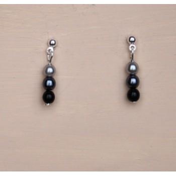 Boucles d oreilles noir et gris BO4278B
