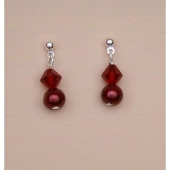 Boucles d oreilles rouge foncéBO4279A