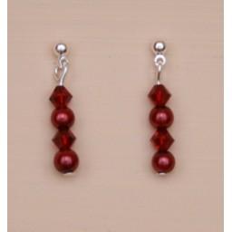 Boucles d oreilles rouge et cristal BO4279B
