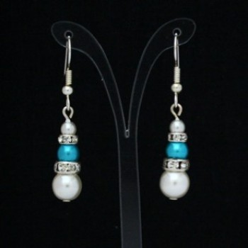 Boucles d'oreilles mariage blanc turquoise strass BO4287A