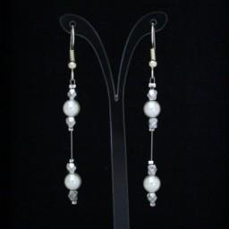 Boucles d'oreilles Mariage blanches et argent BO1270A